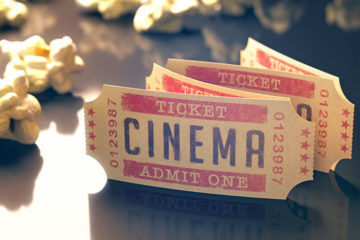 movie cinema tickets and popcorn