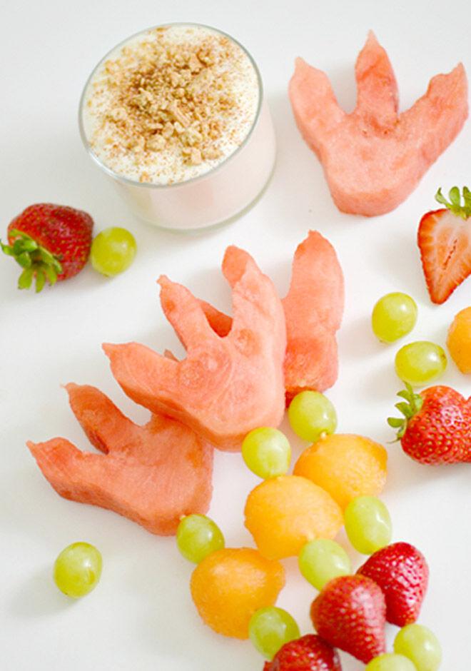 Dinosaur party food, fresh fruit skewers