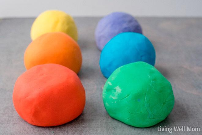 homemade play dough recipe rainbow colours