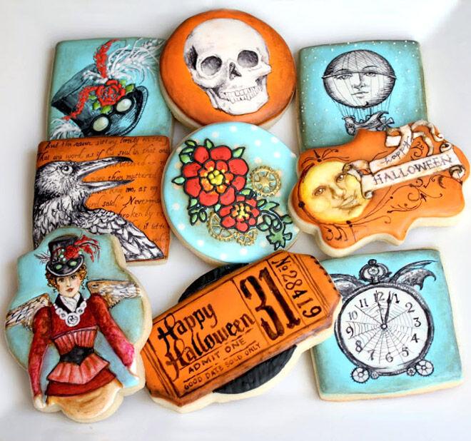 Halloween biscuits paint treat