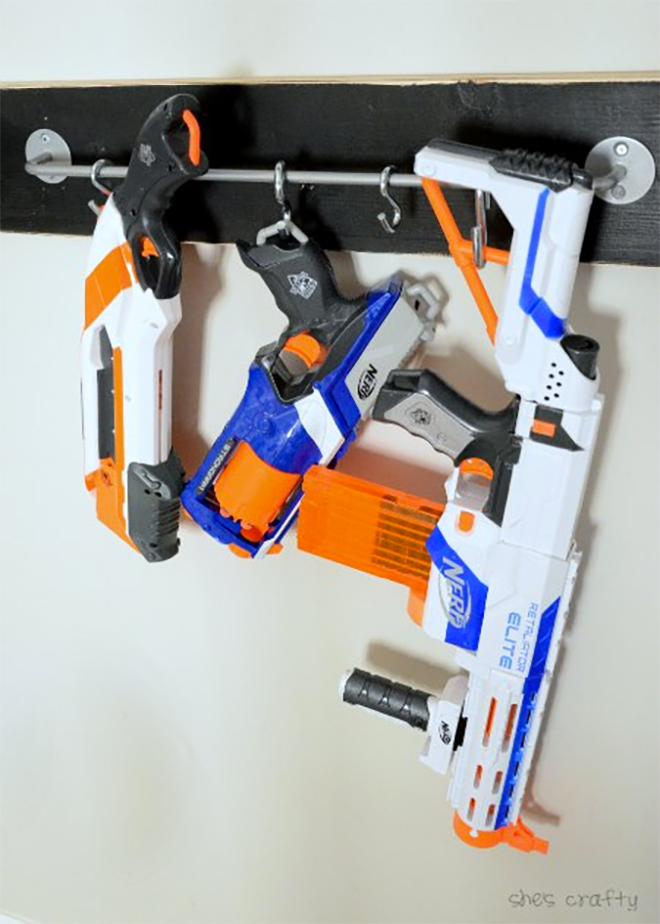 Nerf Gun storage on hooks