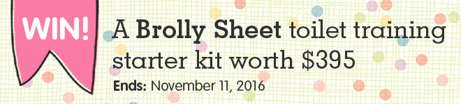 Win a toilet training starter kit from Brolly Sheets
