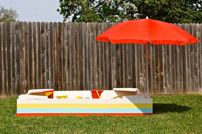 how to make a sand pit and shade cover