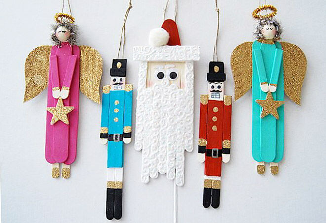 Christmas Craft Ideas With Popsicle Stick : Adorable wooden christmas decorations to make mum s