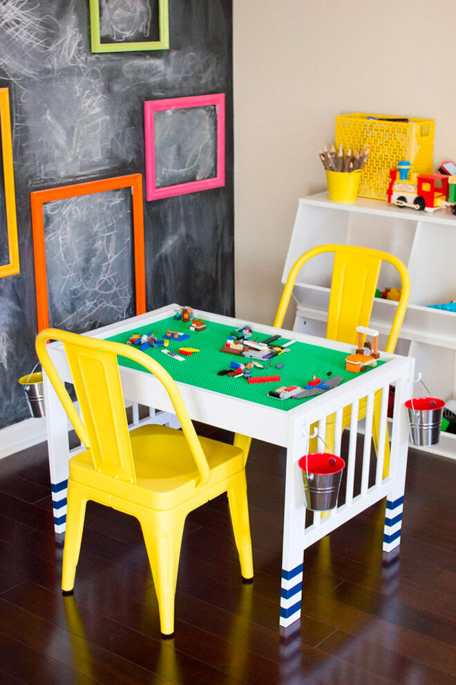 homemade LEGO table play station