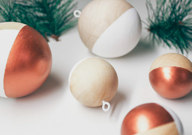 wooden balls painted copper and white for Christmas decorations
