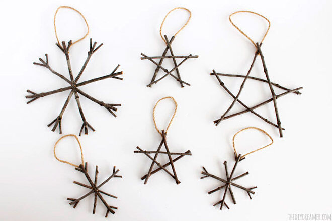 Star Christmas DIY decorations made from twigs