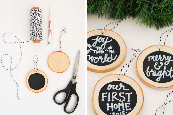 DIY wooden chips with messages to hang in theChristmas tree