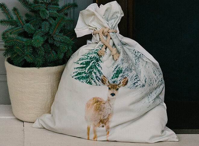 Down To The Woods Snow Fawn Santa Sack