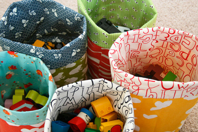 fabric bucket toy car storage