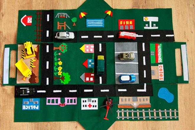 felt play mat house toy car storage