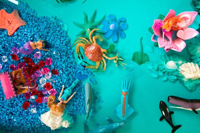 lagoon sensory bin water play toddler