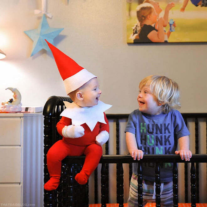 Hilarious dad turns baby into a real life Elf on the Shelf