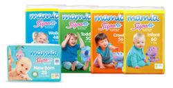 Range of Aldi Mamia Supafit nappies