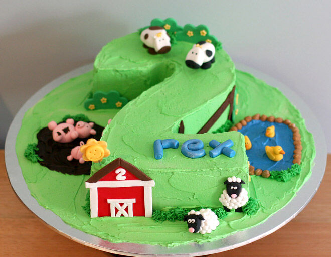 farmyard number cake kids
