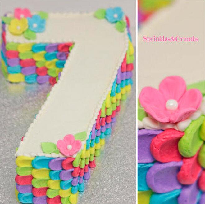 floral number cake kids