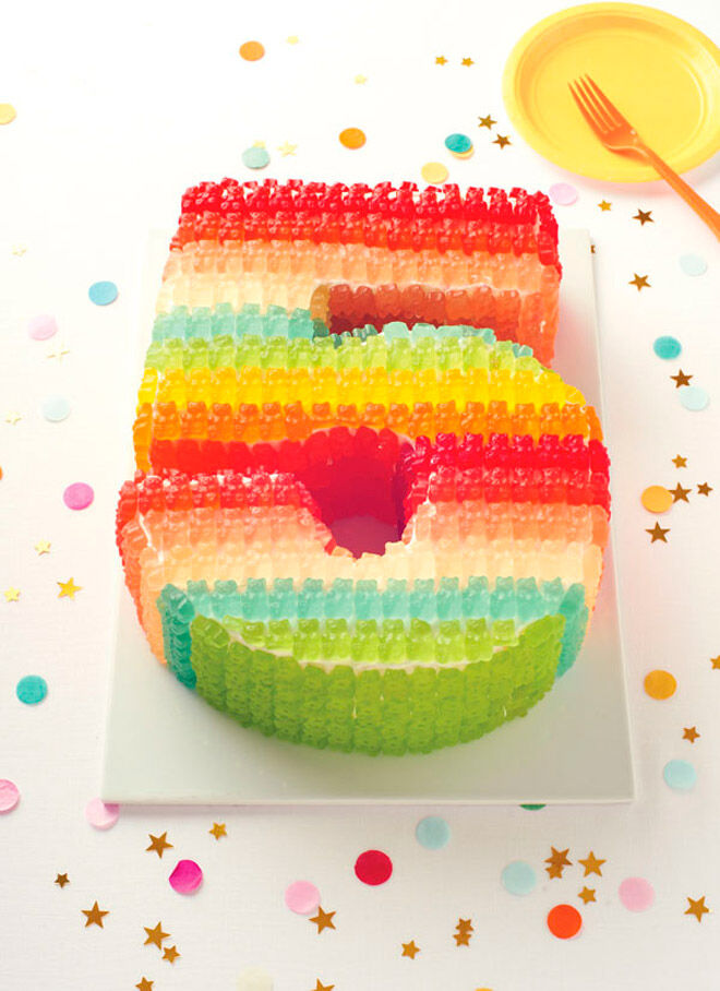 gummy bear number cake kids