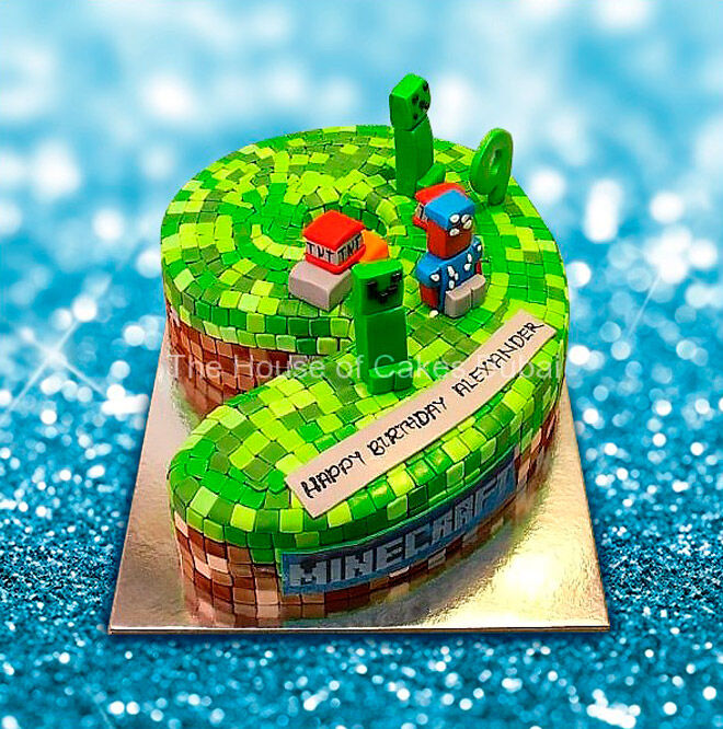 minecraft number cake kids