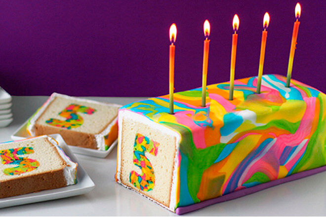 rainbow tie dyed surprise cake number kids