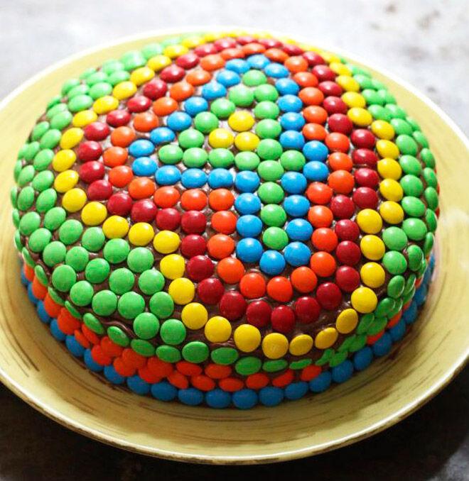 round rainbow cake number kids