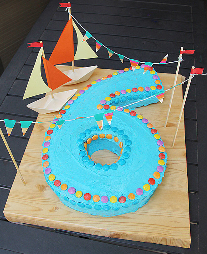 sailboat number cake kids