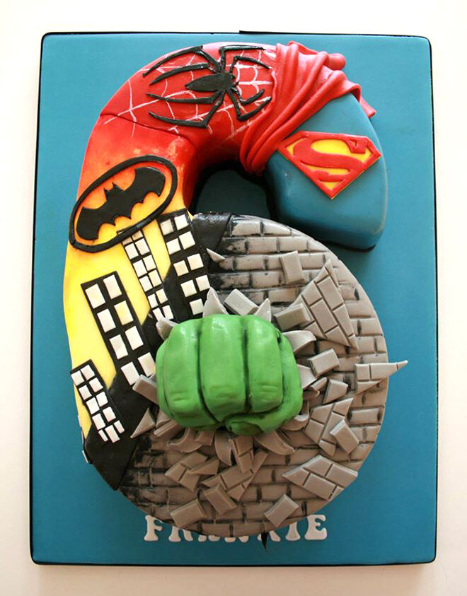 superhero number cake kids