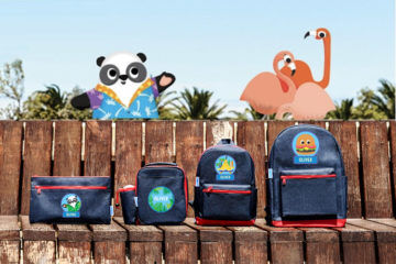 Hippo Blue personalised back packs and lunch bags