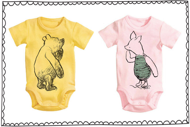 Winnie the Pooh and piglet onesies