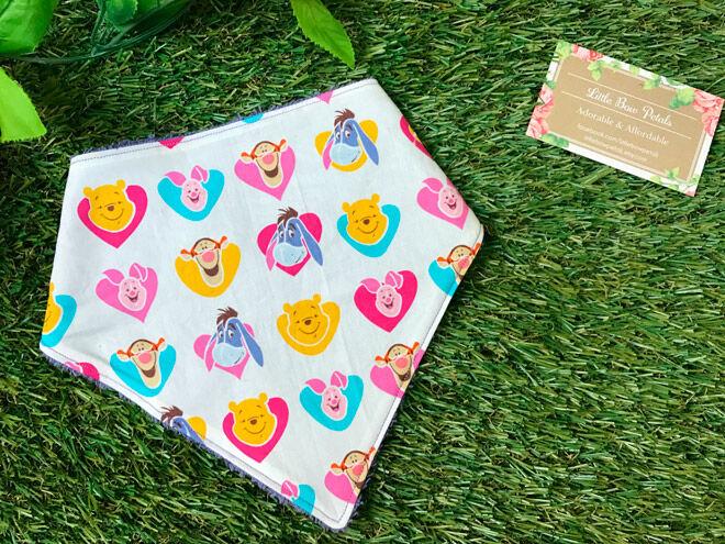little bow petals baby bib winnie the pooh