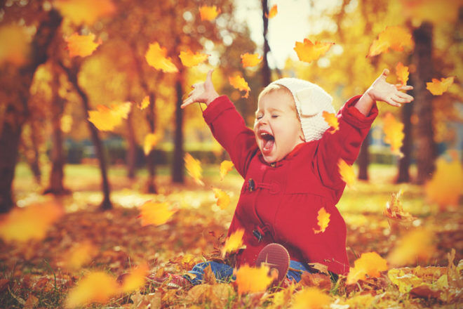 autumn kids leaves outdoors