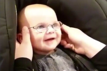 danish baby sees mum first time glasses