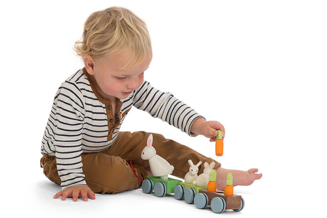 Non chocolate easter gift ideas for toddlers and kids choo choo all aboard the bunny train 5495 easter gifts for toddlers dont come any better than this wooden train set that has rabbit and carrot negle Choice Image