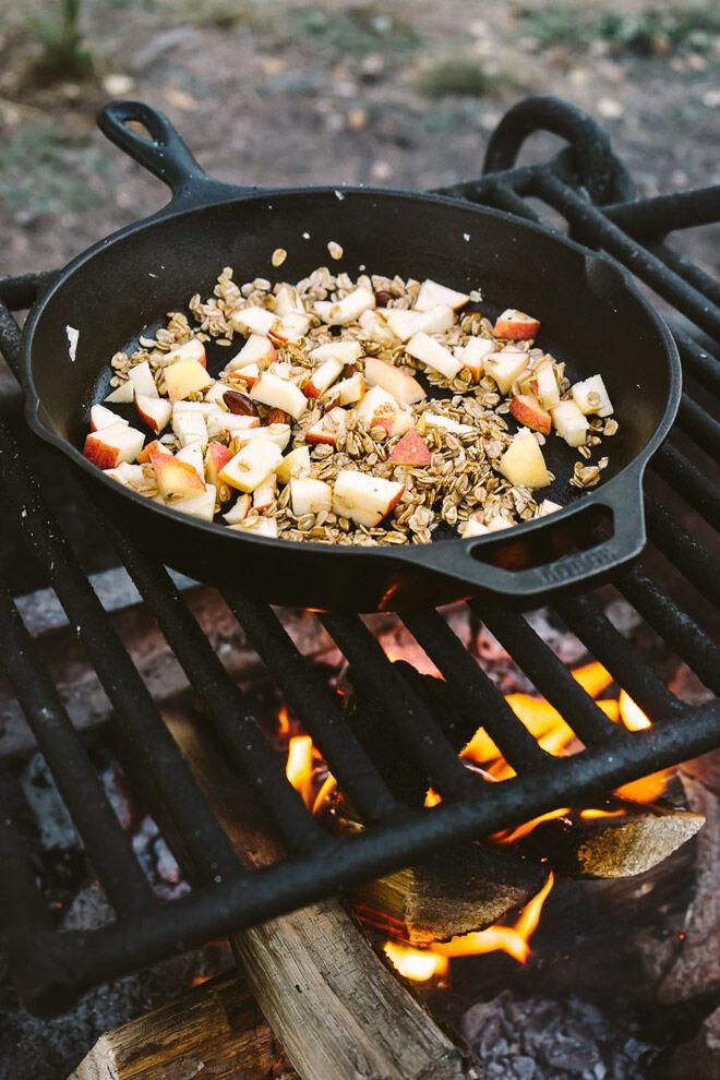campfire apple crisp camping food kids