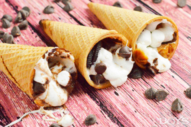 toasted icecream cones kids camping food