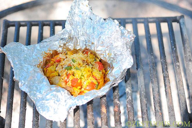 campfire paella camping food kids