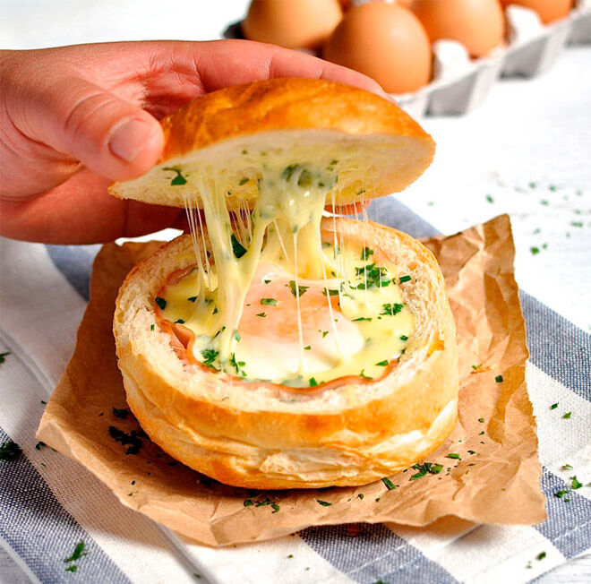 ham cheese egg bread bowl camping food kids