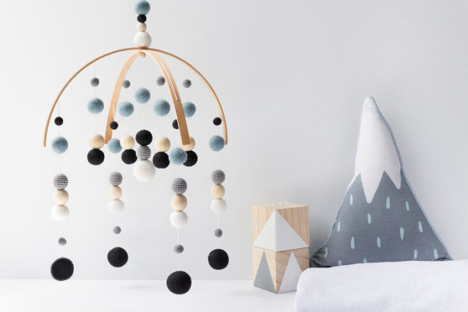 the Felting Dorcas Felt ball cot mobile