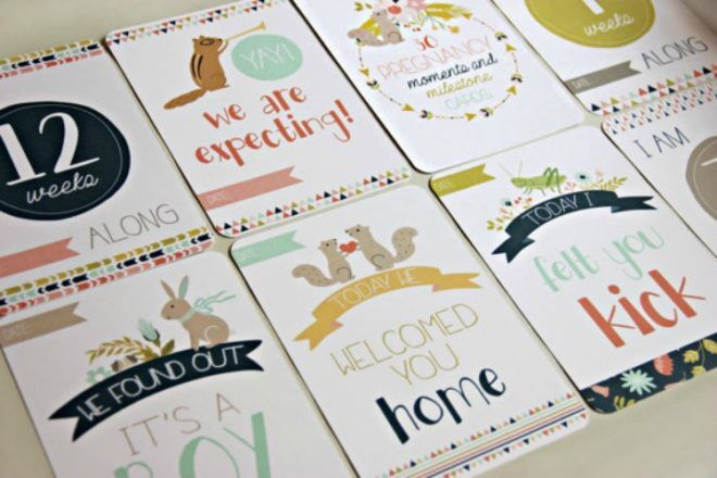 Hip Ink Horray pregnancy milestone cards