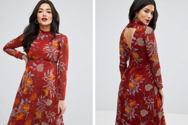 ASOS Maternity Midi Dress with Open Back