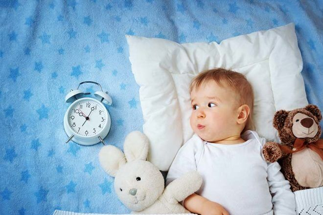 Child watching the clock in bed. Daylight Savings