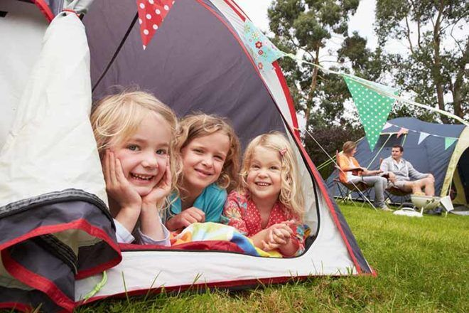 Kids camping in tents