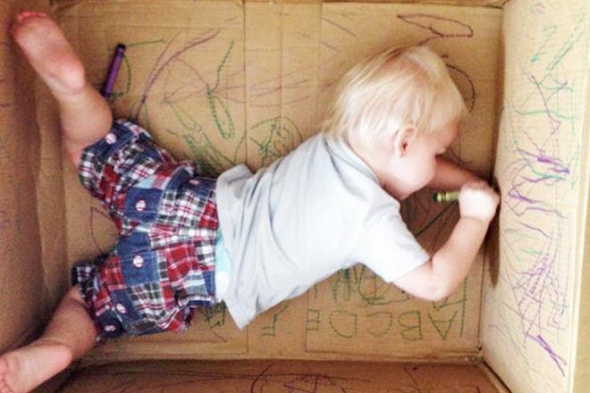 toddler cardboard box