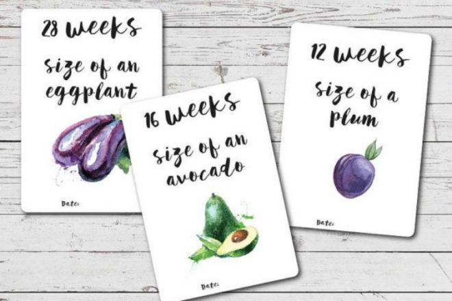 Audrey n Me fruit and veggie pregnancy milestone cards
