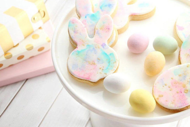 tasteetreats4u watercolour rabbit easter cookies