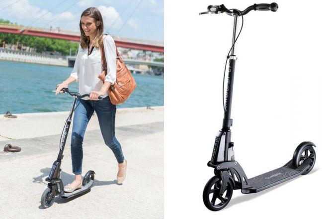 Mum riding Kleefer 18.0 scooter