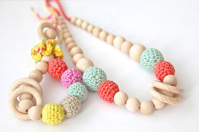 teething jewelry to entertain baby on a long haul flight