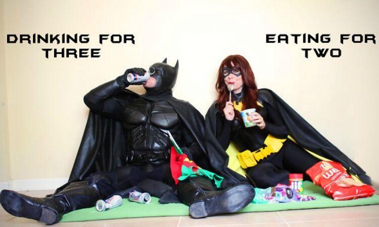 Batman and Batgirl funny pregnancy reveal photo