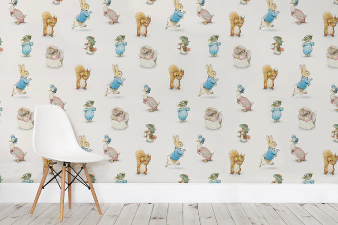 Beatrix potter wallpaper to decorate baby 39 s nursery burrow for Beatrix potter mural wallpaper