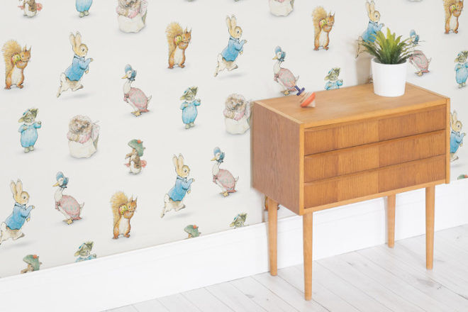 Peter Rabbit and Squirrel Nutkin on Beatrix Potter wallpaper