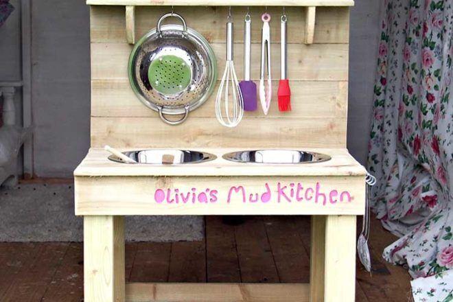 hook hanging utensils backyard mud kitchen ideas